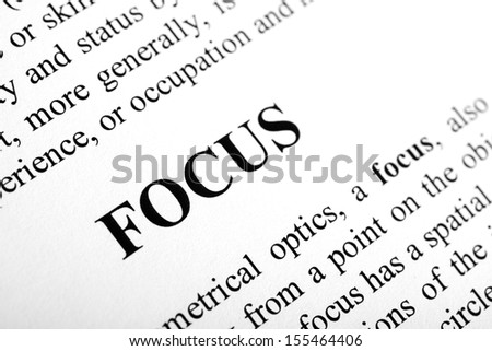The word Focus shot with artistic selective focus. - stock photo