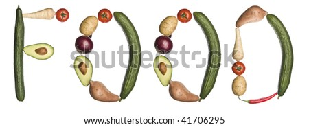 The word 'Food' made out of vegetables isolated on a white background - stock photo