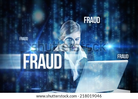 The word fraud and redhead businesswoman using her laptop against lines of blue blurred letters falling - stock photo