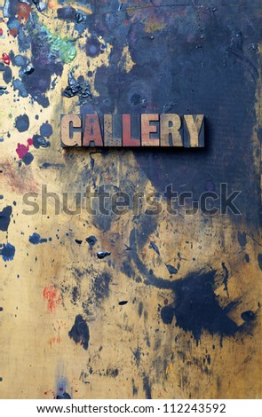 The word Gallery written in antique letterpress printing blocks. - stock photo