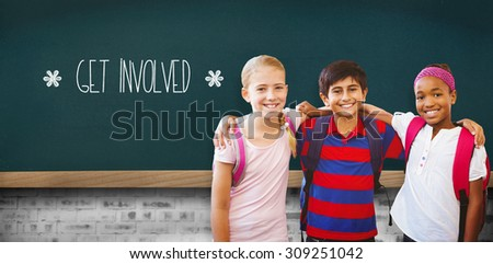 The word get involved! and school kids in school corridor against teal - stock photo