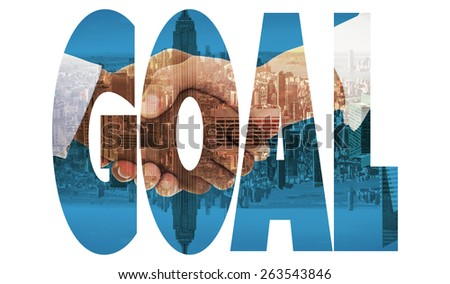 The word goal and close-up shot of a handshake - stock photo