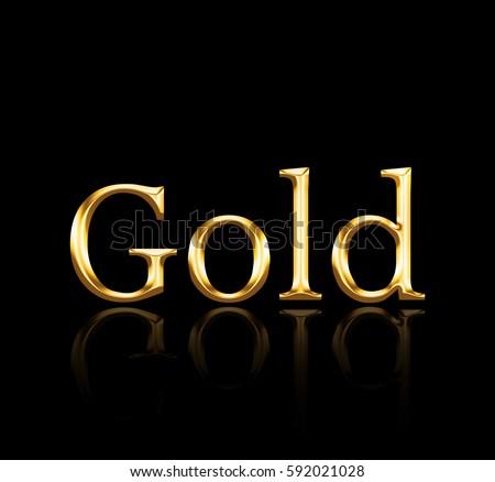 word gold golden color on black stock illustration 592021028