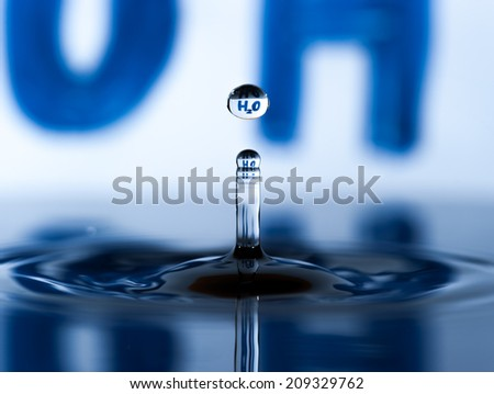 "The word ""H2O"" in drop of water falling"