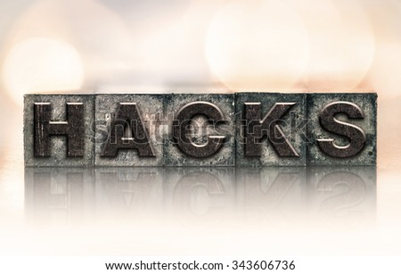 """The word """"HACKS"""" written in vintage ink stained letterpress type. - stock photo"""