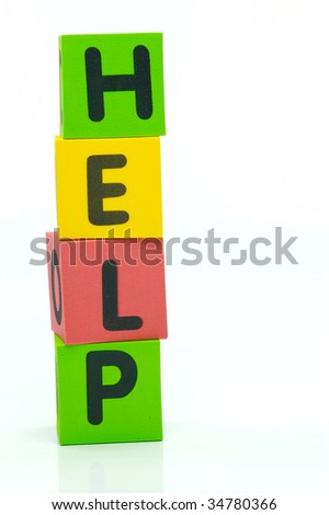 The word help isolated against a white background