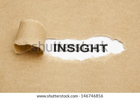 The word Insight appearing behind torn brown paper. - stock photo