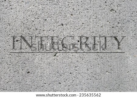 The word integrity set in stone - stock photo
