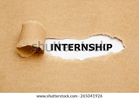 The word Internship appearing behind torn brown paper.  - stock photo