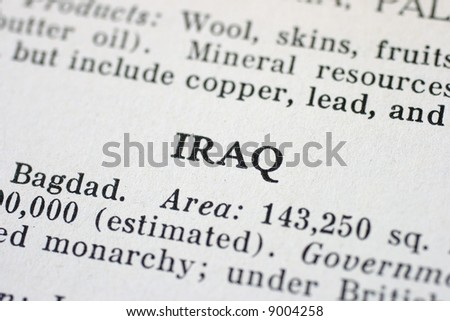 The word Iraq is highlighted in an old Atlas - stock photo