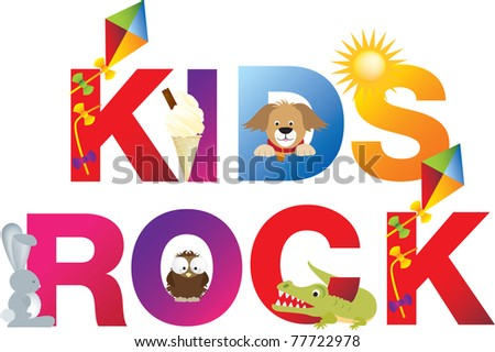 The word kids rock  made up from alphabet cartoon letters with matching animals and objects - stock photo