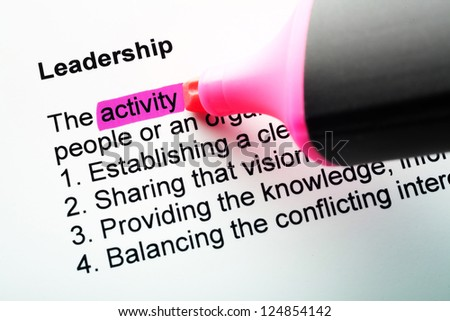The word Leadership highlighted in magenta with felt tip pen - stock photo