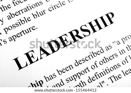 The word Leadership shot with artistic selective focus.