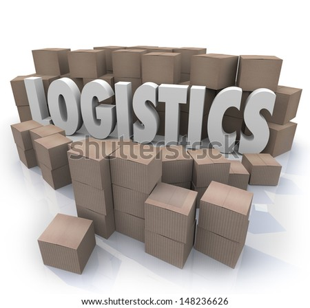 The word Logistics surrounded by cardboard boxes in a warehouse to illustrate shipping effiencies - stock photo