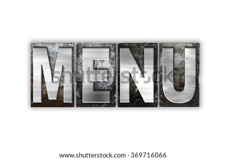"The word ""Menu"" written in vintage metal letterpress type isolated on a white background."