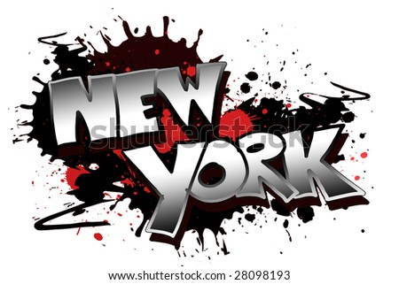 The word New York as a grungy colorfully painting - stock photo