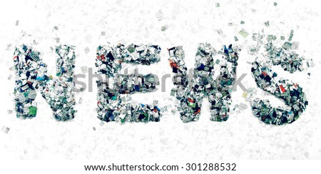 the word NEWS mad with cut up newspaper - stock photo