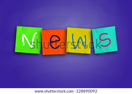 The word News written on sticky colored paper - stock photo