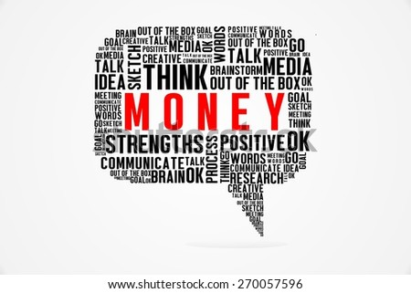 The Word of Money On Bubbles Concept - stock photo