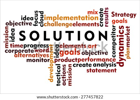the word of solution on collage word - stock photo