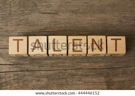 the word of TALENT on wooden cubes - stock photo