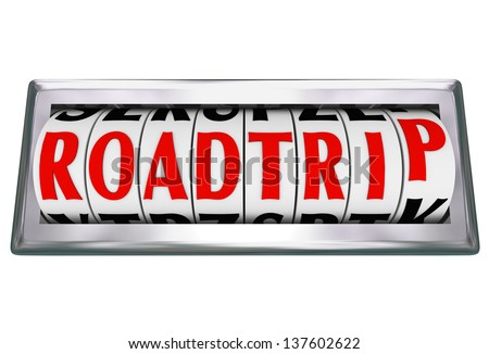 The word or words Road Trip on an odometer tracking or counting the miles on a family vacation traveling by car, truck or RV on freeway or other roads - stock photo