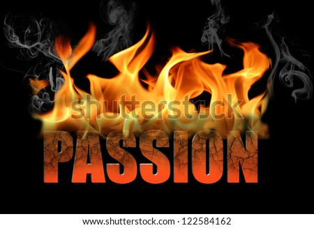 The word passion is written in fire and smoke on a black horizontal background.  Perfect for any conceptual ideas for love, romance, Valentine Day, etc. - stock photo