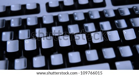 The word Politics spelled out on a computer keyboard. Only the keys forming Politics are in focus.