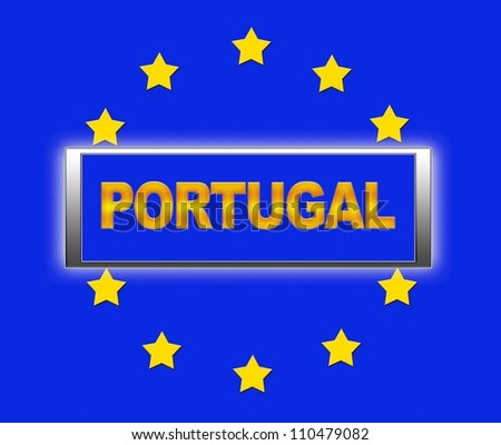 The word Portugal and flag of Europe . - stock photo