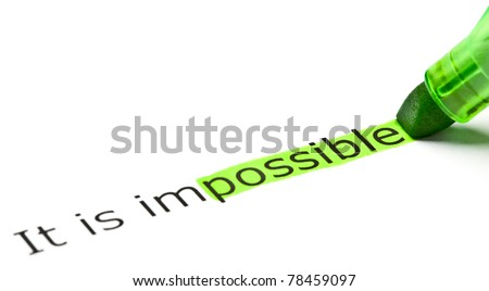 The word Possible highlighted in green as a part of the word Impossible. - stock photo