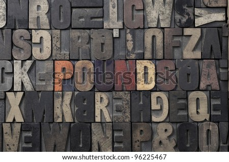 The word Pounds written in antique letterpress printing blocks. - stock photo