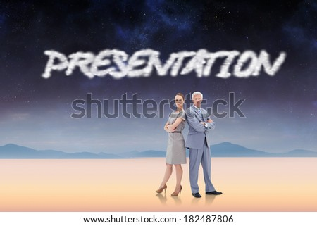 The word presentation and serious businessman standing back to back with a woman against serene landscape - stock photo