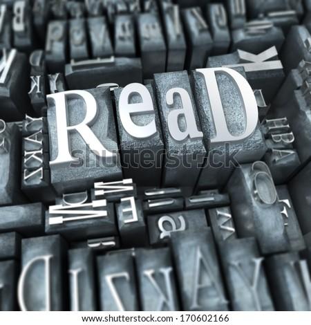 The word read written in typescript metal letters - stock photo