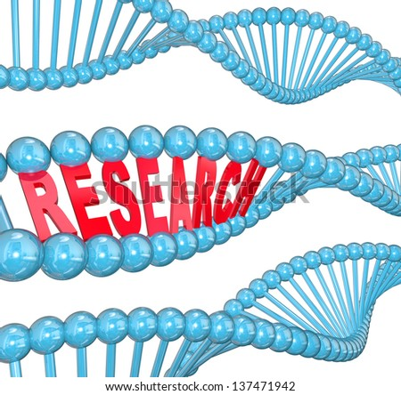 The word Research in red letters hidden within a blue DNA strand to illustrate medical studies in a laboratory for finding a cure to a disease such as cancer