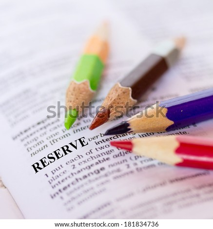 The word RESERVE - stock photo