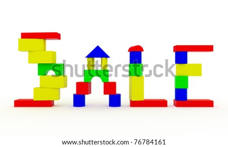 The word SALE, constructed from children's toy wooden blocks - stock photo
