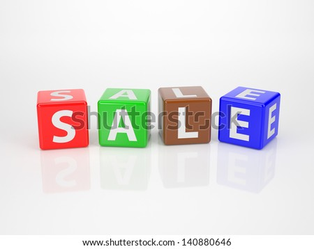 The Word Sale out of Multicolored Letter Dices