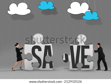 The word save and businesswoman pushing against grey jigsaw pieces