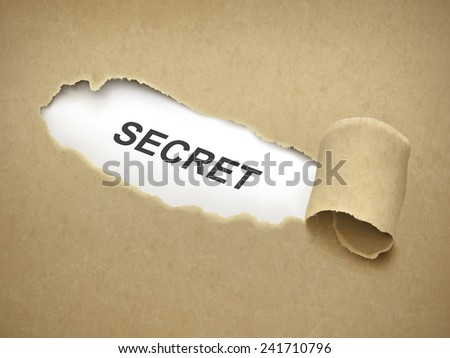 the word secret behind brown torn paper - stock photo