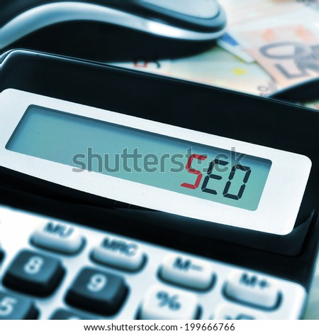 the word SEO, acronym for Search Engine Optimization, on the display of a calculator with euro bills in the background - stock photo