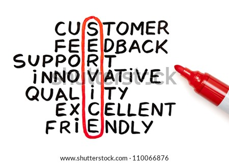 The word Service highlighted with red marker in a handwritten chart - stock photo