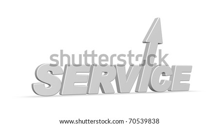 the word service with arrow - 3d illustration