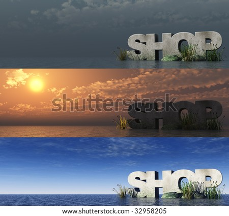 the word shop at the ocean at three different day times - 3d illustration