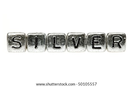 The word silver spelled out in silver blocks - stock photo