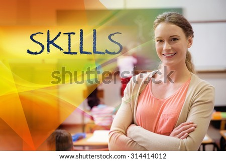The word skills against pretty teacher smiling at camera at back of classroom - stock photo