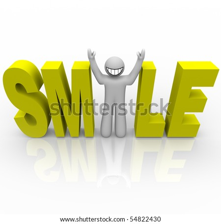 The word Smile in yellow letters and a man with a smiley face stands in for the letter i - stock photo