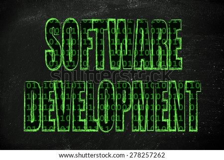 the word Software Development with a binary code pattern fill and chalk-like strokes - stock photo
