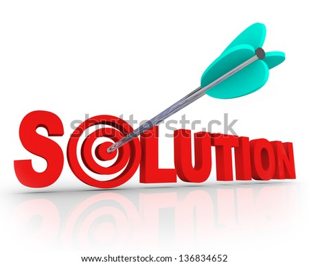 The word Solution in red 3D letters and an arrow in a target bulls eye in the letter O to symbolize a problem solved and an answer found to fix an issue or trouble - stock photo