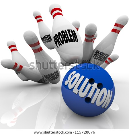The word Solution on a blue bowling ball hitting pins with the word Problem on them to represent an answer to solve some trouble, issue or challenge and reach a goal - stock photo