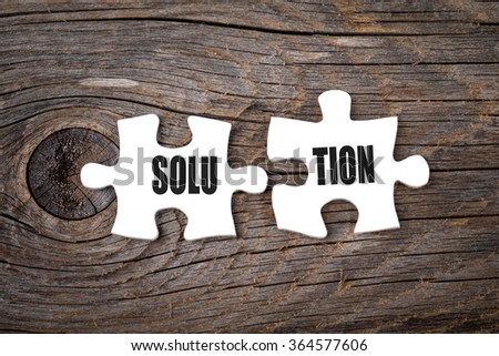 The word Solution on two matching puzzle - stock photo